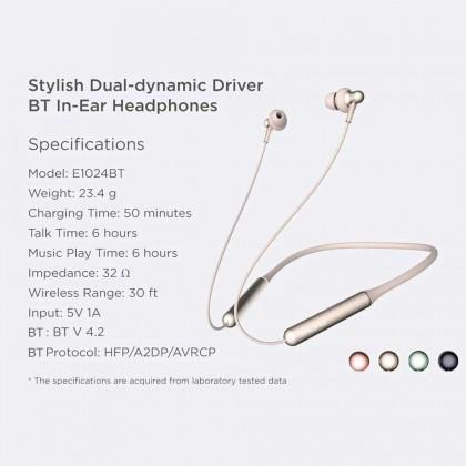 1MORE E1024BT Stylish Dual-dynamic  Driver BT In-Ear Headphones Collar Earphone Neckband Jaws Wireless BT4.2Headphone Neck Halter Style Music Headset Earphone Hands-free for Smartphones (Black)
