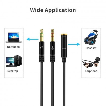 300mm Compact Size Flexible 3.5mm Stereo Audio 1 Female to 2 Male Headset Mic Y Splitter Cable Headphone to PC Adapter (Black)