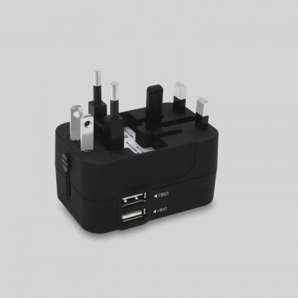 Universal Worldwide All in One Phone Charger Travel Wall AC Power Plug Adapter with Dual USB Charging Ports for USA EU UK AU (Black)