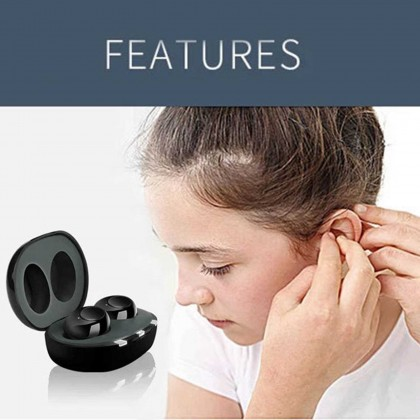 Mini Sound Amplifiers 1 Pair with Portable Charging Case Rechargeable Stylish Hearing Aids Adjustable Volume Cordless Earbuds for Hearing Loss (Standard)